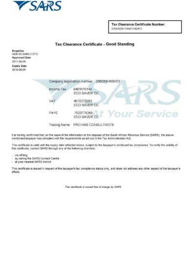 Tax Clearance Status Letter (Expires 2018 08 08)